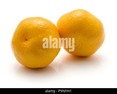 Tangerines isolated on white background two whole - Stock Photo