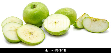 Sliced Granny Smith apples, one whole apple, circles and slices, isolated on white background - Stock Photo