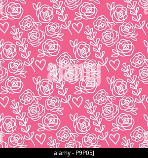 Vector Roses and lavender flowers hand drawn seamless pattern. Pink isolated on white background. - Stock Photo