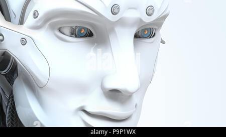 Male robot face on dark digital background. Artificial intelligence in virtual reality. Bot head conceptual design closeup portrait. 3d render - Stock Photo