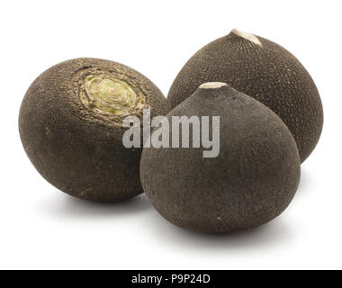 Black radish three bulb roots isolated on white background - Stock Photo