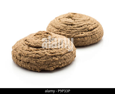 Two cocoa oat cookies isolated on white background brown round crispy - Stock Photo