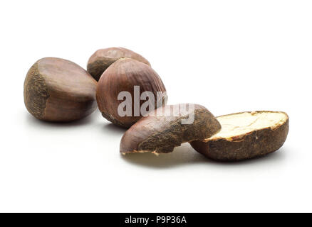 Three European chestnuts two halves Spanish edible isolated on white background raw fresh brown nuts - Stock Photo