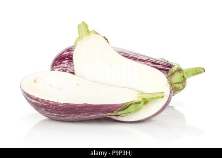 One striped purple eggplant and two halves isolated on white background - Stock Photo