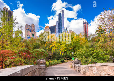 New York, New York, USA Park South cityscape from Central Park in Autumn. - Stock Photo