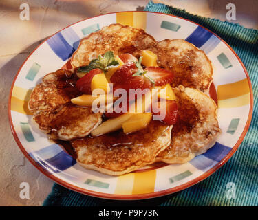 Morning pancakes with fruit - Stock Photo