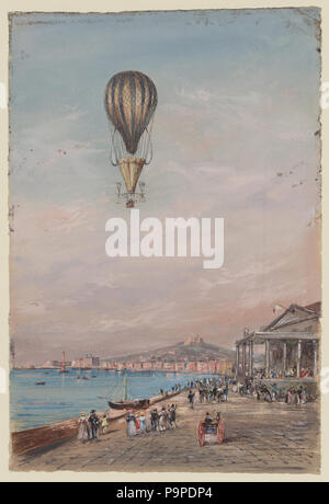 175 Balloon with parachute and propellers, associated with Francesco Orlandi, flying over a town harbor and spectators, possibly during an ascent in Italy between 1820 and 1850 LCCN2002735690 - Stock Photo