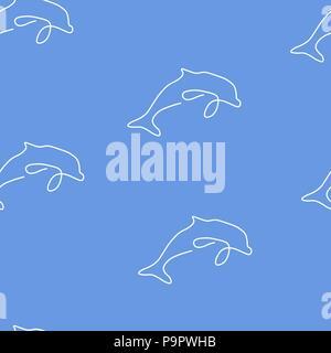 Dolphin animal pattern seamless. Vector illustration. Blue background. - Stock Photo