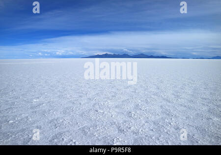 Stunning view of the world's largest salts flat, Salar de Uyuni in Potosi of Bolivia, South America - Stock Photo