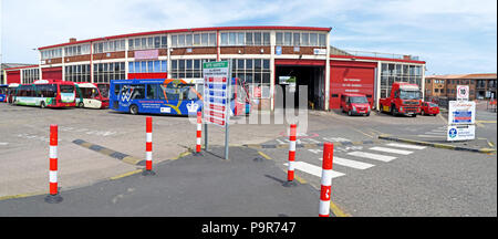 Warringtons Own Buses, main depot entrance,  Wilderspool Causeway, Cheshire, North West England, UK - Stock Photo