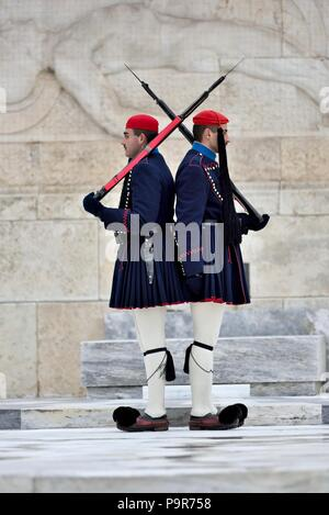 Evzones at Syntagma Square, Athens - Stock Photo