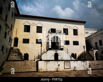 Interior view to Elmina castle and fortress in Ghana - Stock Photo