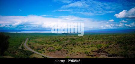 Panoramic view to chamo and Abaya lakes in Nechisar national park near Arba Minch, Ethiopia - Stock Photo