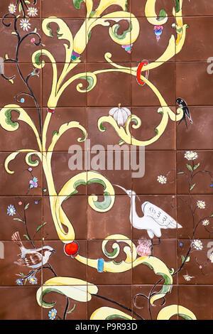 Detail of azulejos, tiles, with bird images, egret, sparrow, martin, flowers, Palácio Valenças, Sintra, Portugal - Stock Photo