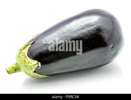 One whole eggplant (aubergine) isolated on white background - Stock Photo