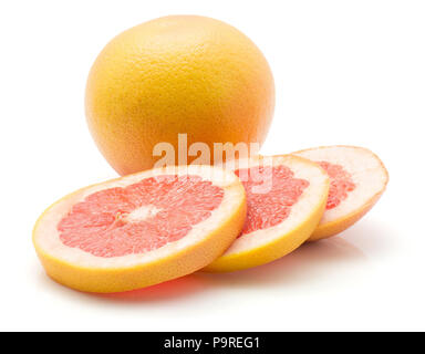 Sliced red grapefruit isolated on white background one whole three rings - Stock Photo
