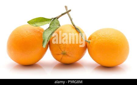 Three oranges with green leaf isolated on white background whole fresh in row - Stock Photo