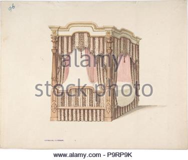 Design for a Four-poster Bed with Pink, Brown and White Draperies, early 19th century, Ink, watercolor and wash, sheet: 9 1/2 x 11 7/8 in. (24.1 x 30.2 cm), Anonymous, British, 19th century. - Stock Photo