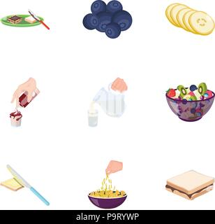 Fruit, dessert, sandwiches and other types of food. Food set collection icons in cartoon style vector symbol stock illustration . - Stock Photo