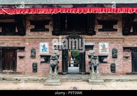 Newari architecture, Bhaktapur, Nepal - Stock Photo