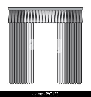 Curtains with drapery on the cornice.Curtains single icon in monochrome style vector symbol stock illustration . - Stock Photo