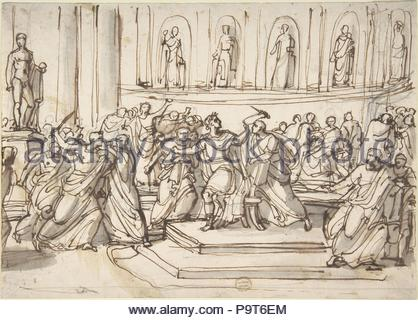Assassination of Julius Caesar, 1771–1844, Pen and brown ink with brush and gray wash over graphite, 7 9/16 x 10 9/16in. (19.2 x 26.9cm), Drawings, Vincenzo Camuccini (Italian, Rome 1771–1844 Rome). - Stock Photo