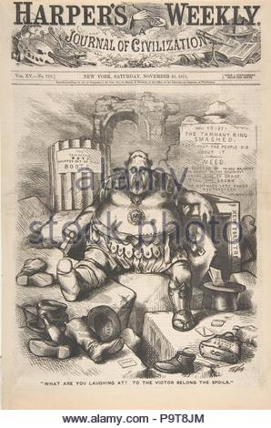 'What are You Laughing at? To the Victor Belong the Spoils' (from Harper's Weekly), November 25, 1871, Wood engraving, sheet: 15 3/8 x 10 9/16 in. (39 x 26.9 cm), Prints, Thomas Nast (American (born Germany), Landau 1840–1902 Guayaquil), New York's famously corrupt power broker William M. Tweed is portrayed as a defeated Roman soldier in an image issued just after the election that broke his hold on power. As commissioner of public works, 'Boss Tweed' had allied himself with cronies collectively known as Tammany Hall after their political headquarters. - Stock Photo
