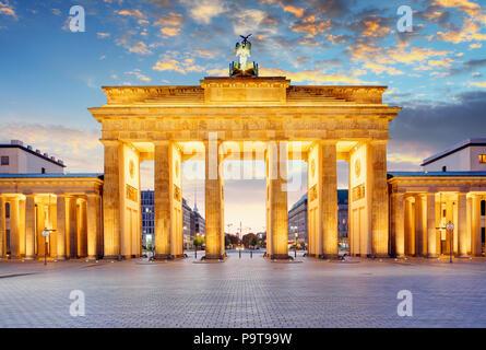 Berlin - Brandenburg Gate at night - Stock Photo