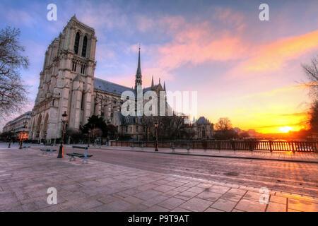 Paris - Notre Dame at sunrise, France - Stock Photo