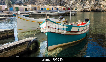 Traditional fishing boats  at the Inland Sea of Gozo - Stock Photo