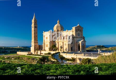 Ta' Pinu Cathedral at Gharb, Gozo, Malta - Stock Photo
