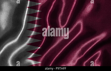 Qatar flag - Fabric flag of Qatar country, Background and wallpaper of waving flag by textile. - Stock Photo