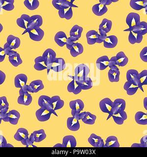 Dark Blue Purple Iris Flower on Yellow Background. Vector Illustration. - Stock Photo