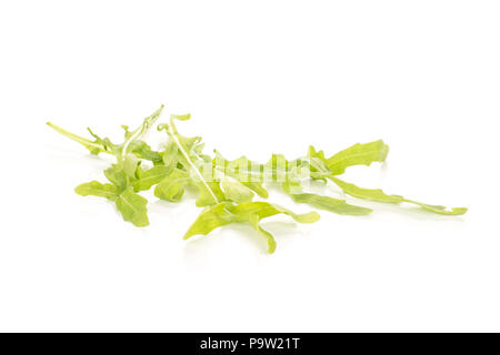 Fresh arugula leaves isolated on white background - Stock Photo