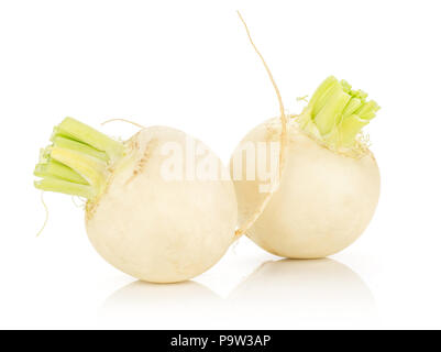 White radish bulbs isolated on white background two whole - Stock Photo