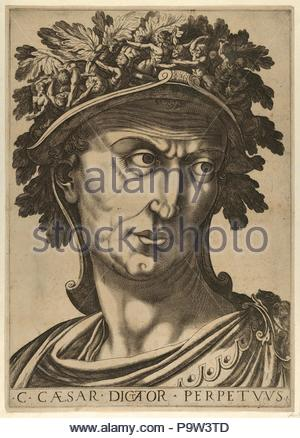 Drawings and Prints, Print, Plate 1: Julius Caesar looking to the right, from 'The Twelve Caesars', The Twelve Caesars, Artist, After, Raffaello Schiaminossi, Italian, Borgo San Sepolcro (Sansepolcro) 1572–1622 Borgo San Sepolcro (Sansepolcro), Schiaminossi, Raffaello, Italian, 1572, 1622, ca. 1610–40, 1605. - Stock Photo