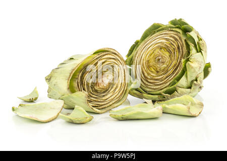 Globe artichoke cut in two halves isolated on white background raw fresh - Stock Photo