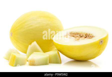 Yellow honeydew melon set isolated on white background one whole one section half with seeds five cut pieces - Stock Photo