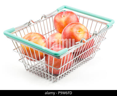 Plums red orange in a shopping basket isolated on white background ripe and fresh - Stock Photo