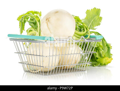 White radish with fresh leaves in a shopping basket isolated on white background three bulbs - Stock Photo