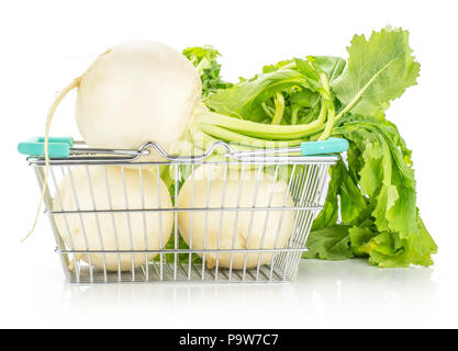 White radish bulbs with fresh leaves in a shopping basket isolated on white background - Stock Photo