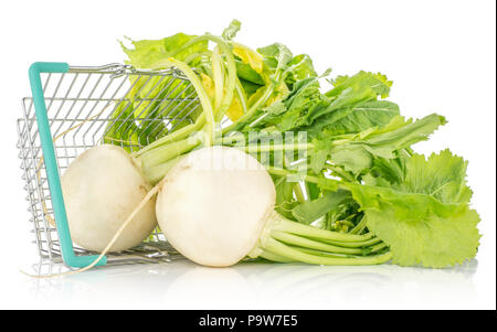 White radish bulbs with fresh leaves out a shopping basket isolated on white background - Stock Photo