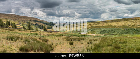 North Pennines AONB panoramic landscape, looking south down the Hudes Hope valley near Middleton in Teesdale, UK - Stock Photo