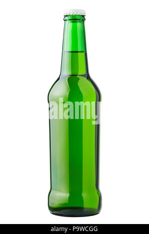 Glass bottle of green, clipping path, cold beer, isolated on whi - Stock Photo
