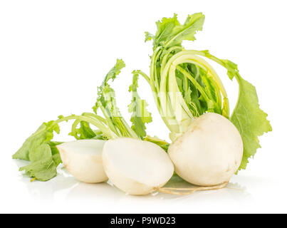 White radish bulbs with fresh leaves isolated on white background one whole and cut in two halves - Stock Photo