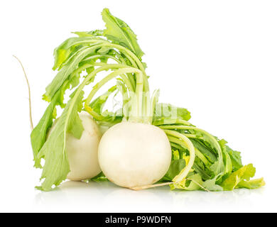Two white radish bulbs with fresh leaves isolated on white background - Stock Photo