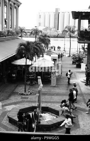 Le Caudan Waterfront is a commercial development in Port Louis, the capital city of Mauritius. It includes shops, banking facilities, casinos, cinemas - Stock Photo