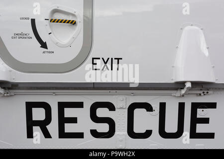 Detail of a Royal Norwegian Air Force AW101 Search and Rescue helicopter at the Farnborough Airshow, on 18th July 2018, in Farnborough, England. The helicopter operates as NAWSARH (Norwegian All-Weather Search and Rescue Helicopter). - Stock Photo
