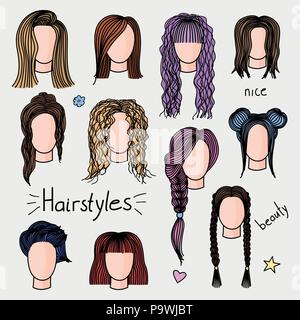 Set of hand drawn womens hairstyles. Colored doodle illustration. - Stock Photo