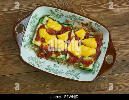 Zucchini Enchiladas  Roll-Ups with Tomatillo Sauce - Stock Photo